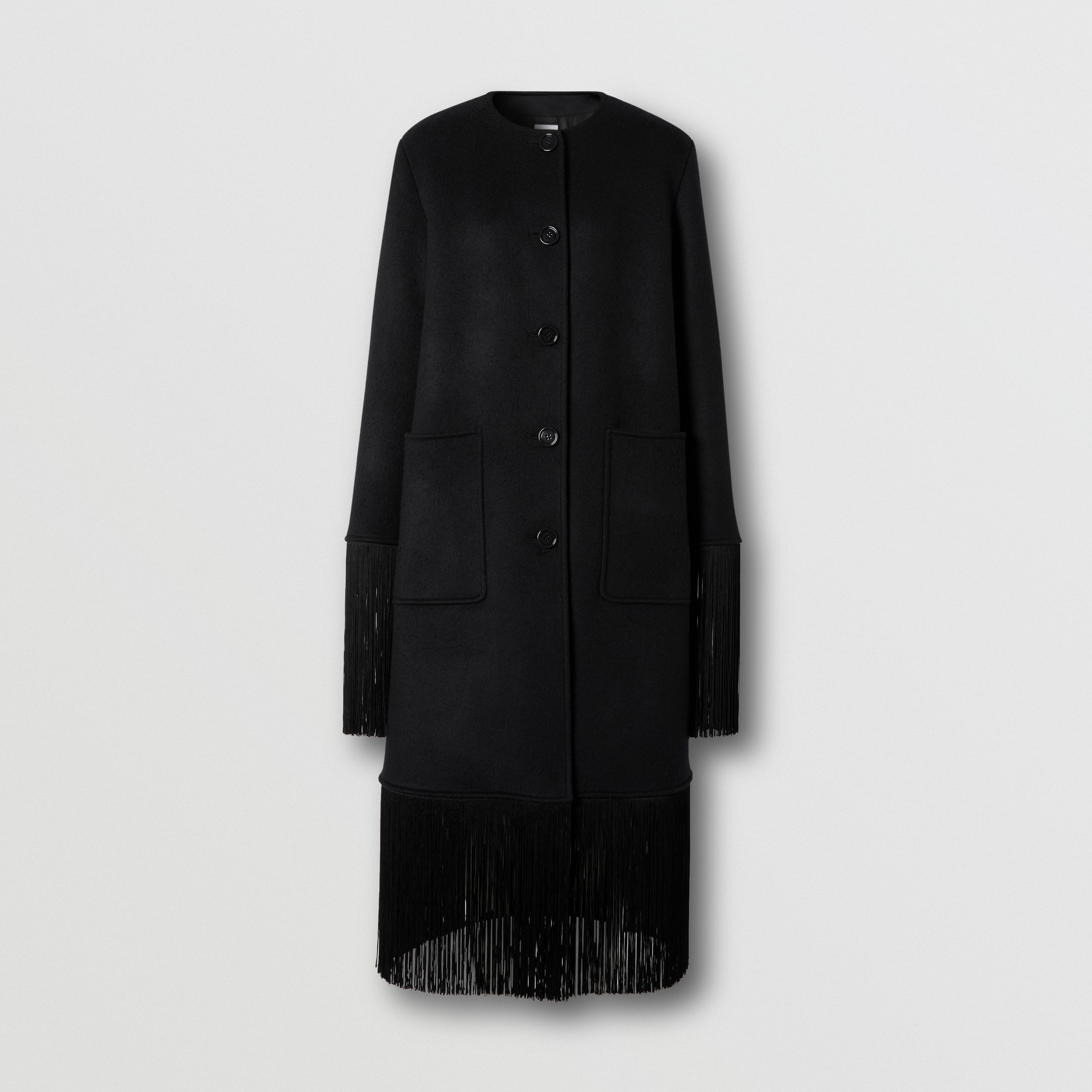 Fringed Double-faced Wool Cashmere Car Coat in Black - Women | Burberry - 4