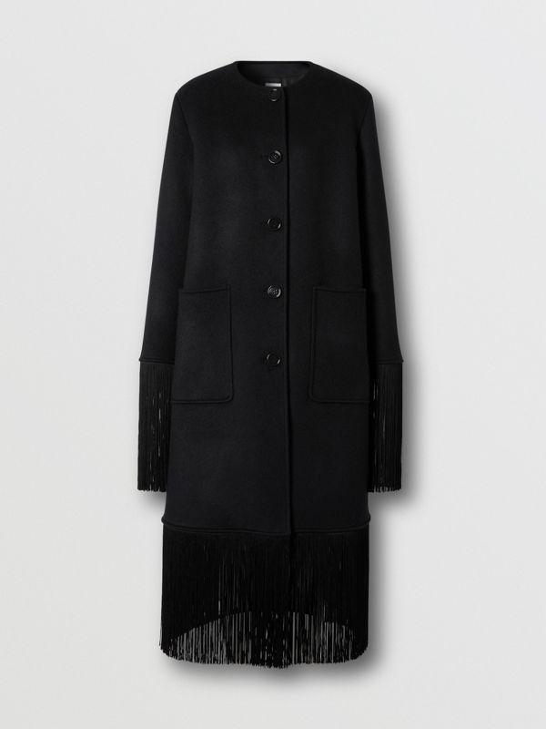Fringed Double-faced Wool Cashmere Car Coat in Black - Women | Burberry United Kingdom - cell image 3