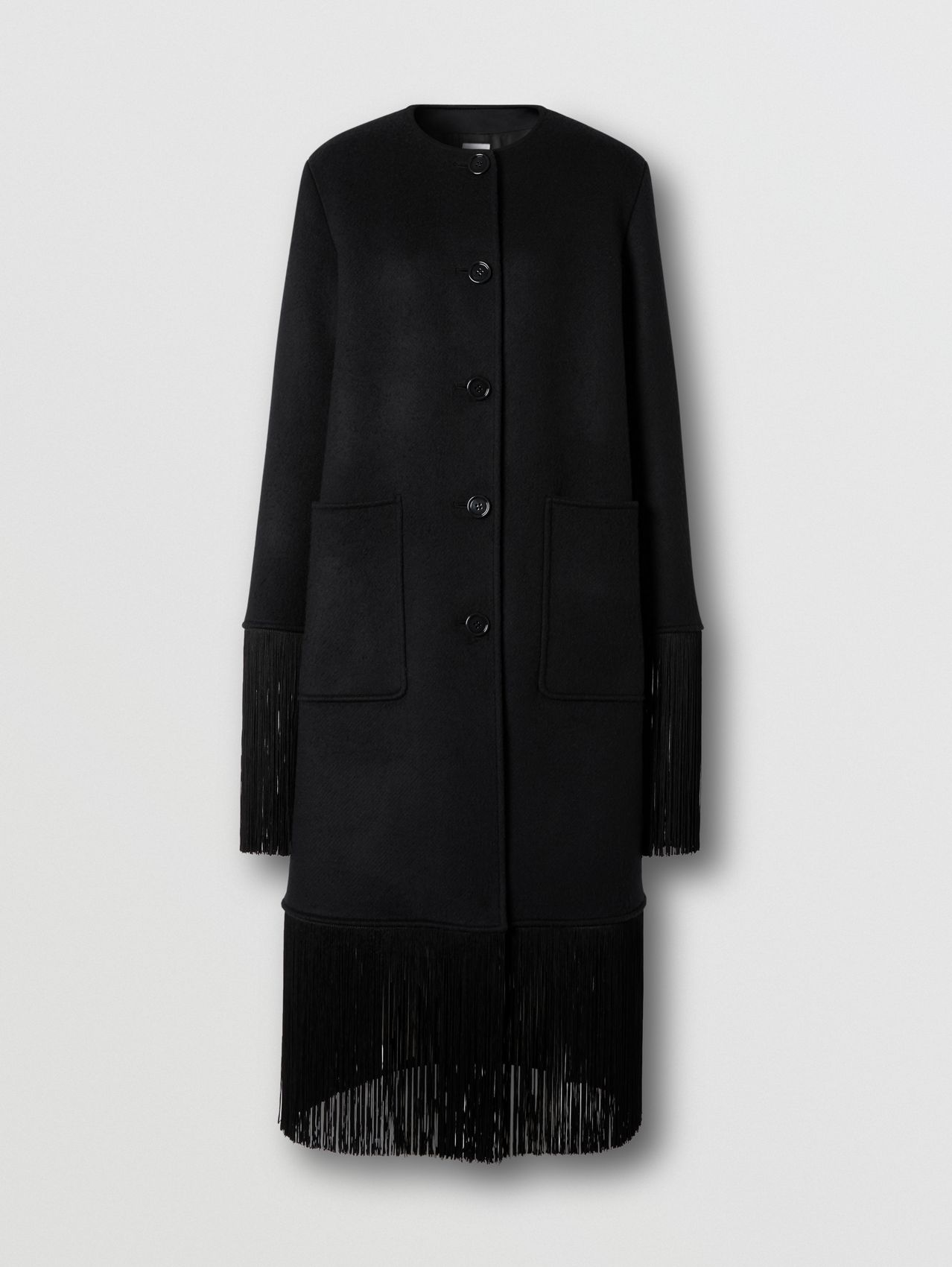Fringed Double-faced Wool Cashmere Car Coat in Black