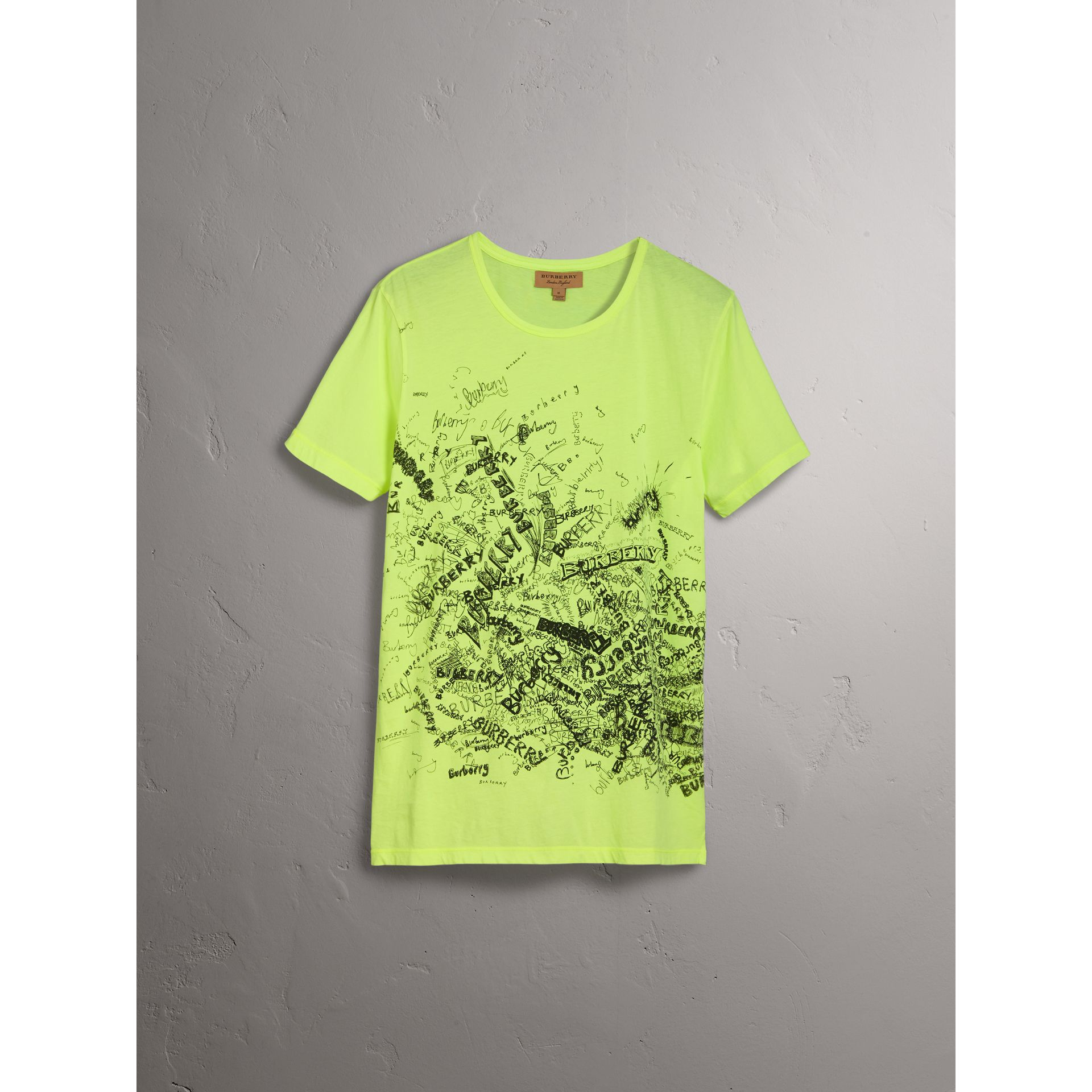 Doodle Print Cotton T-shirt in Bright Lemon - Women | Burberry - gallery image 3