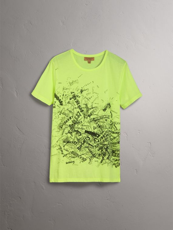 Doodle Print Cotton T-shirt in Bright Lemon - Women | Burberry - cell image 3