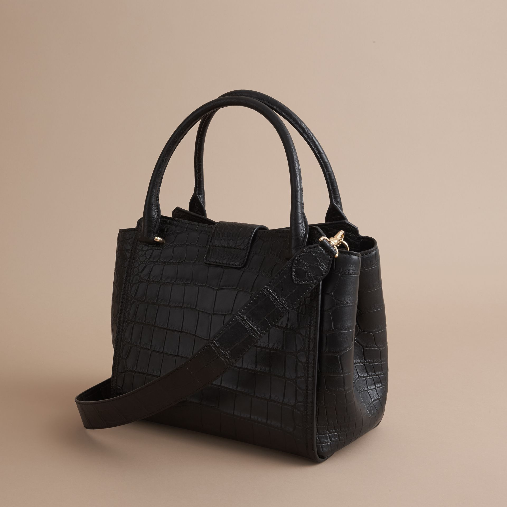 The Medium Buckle Tote in Alligator in Black - Women | Burberry United Kingdom - gallery image 3