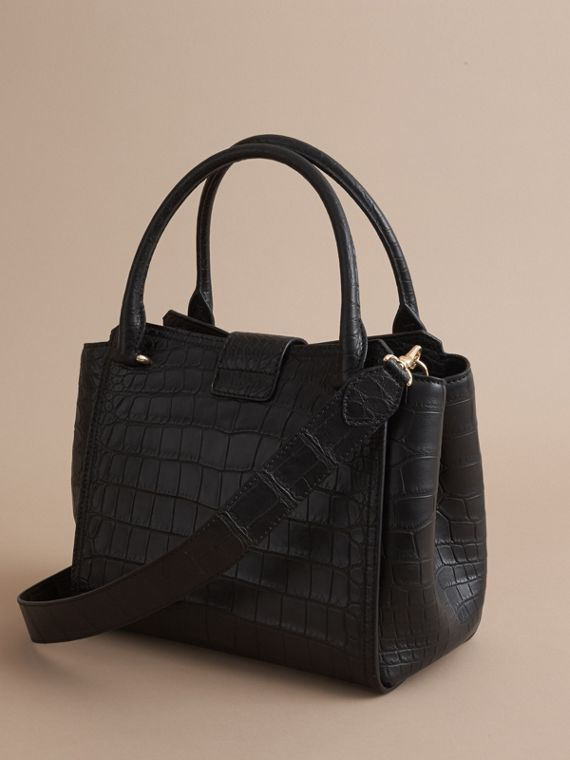 The Medium Buckle Tote in Alligator in Black - Women | Burberry - cell image 2