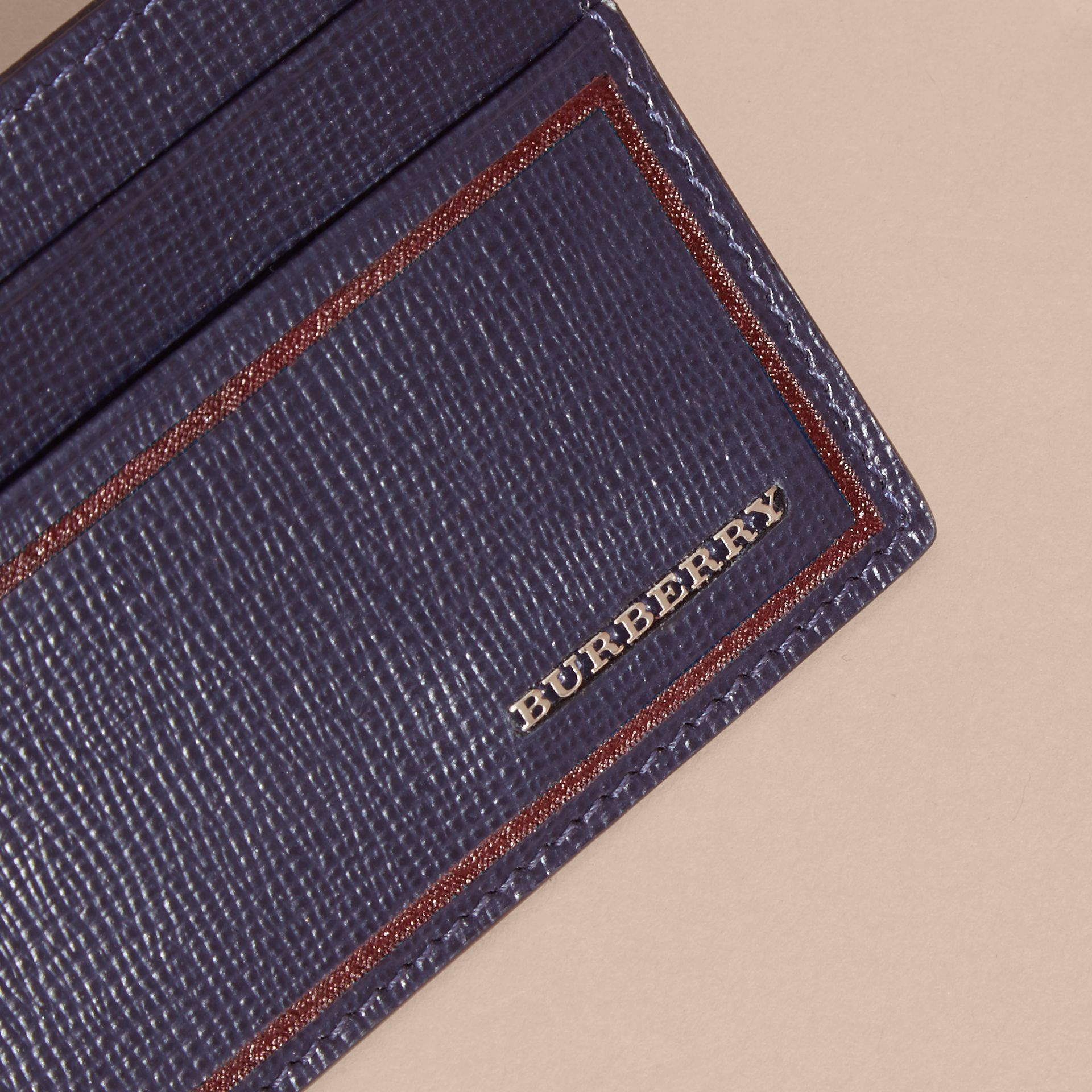 Border Detail London Leather Card Case in Dark Navy - gallery image 3