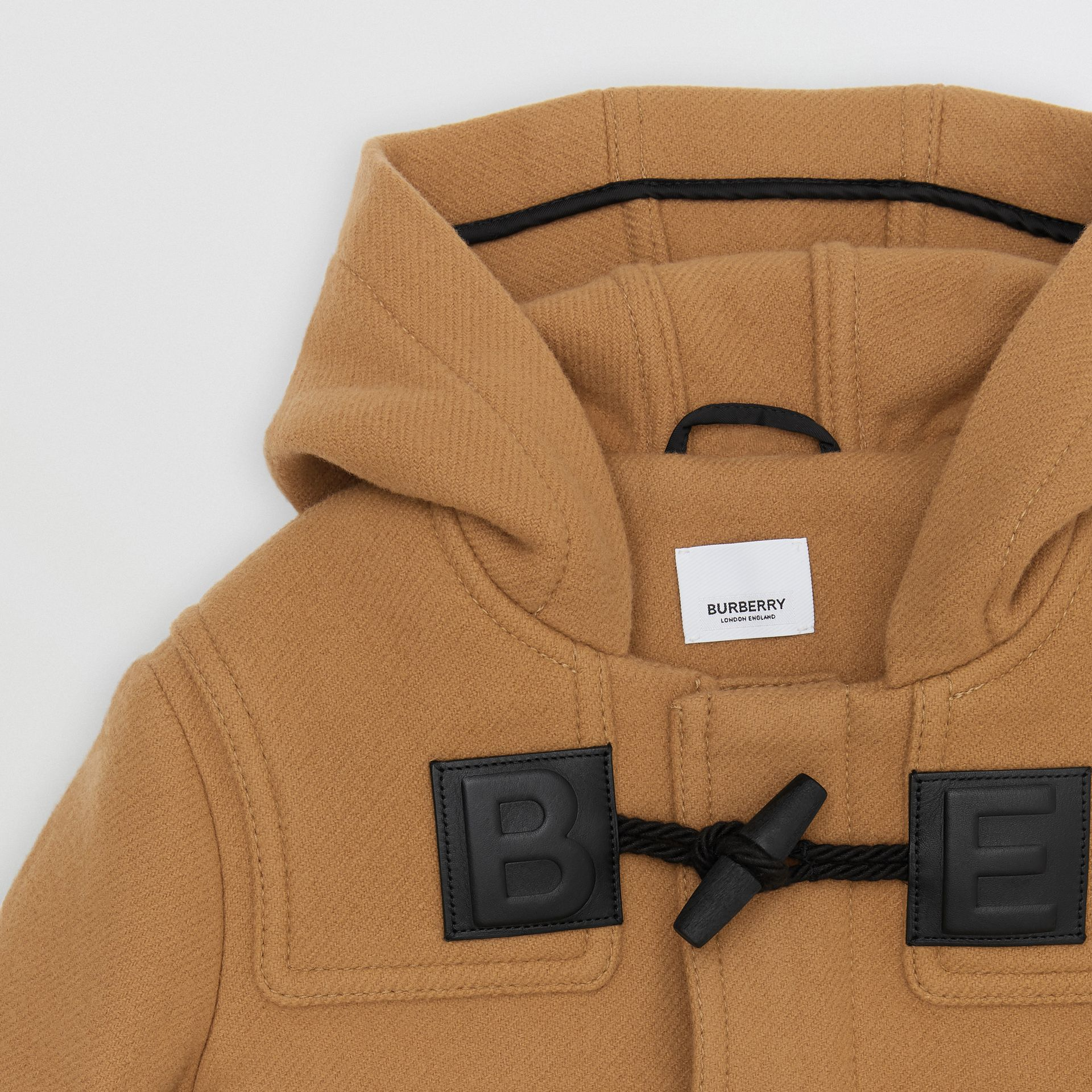 Logo Detail Wool Cashmere Blend Duffle Coat in Antique Yellow | Burberry - gallery image 5
