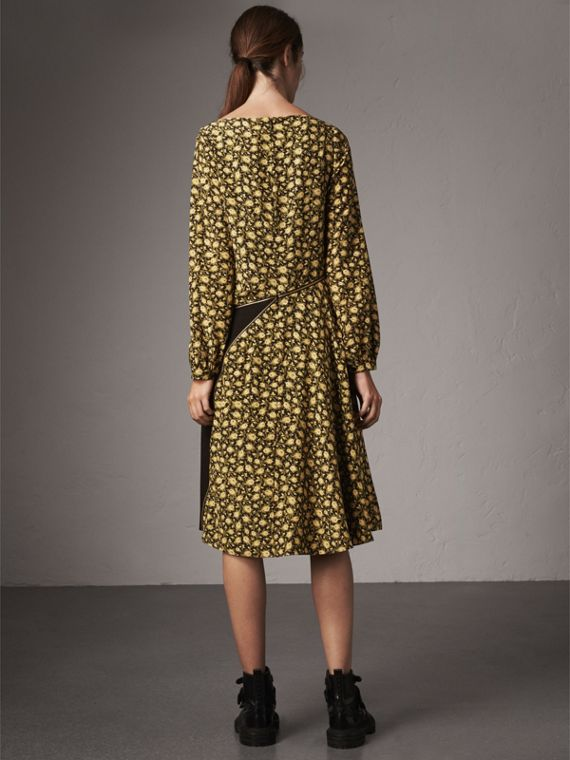 Zip Detail Floral Silk Dress in Pale Saffron Yellow - Women | Burberry Australia - cell image 2