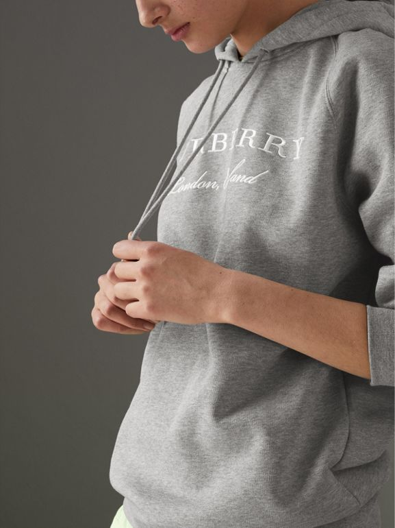 Embroidered Hooded Sweatshirt in Pale Grey Melange - Women | Burberry Australia - cell image 1