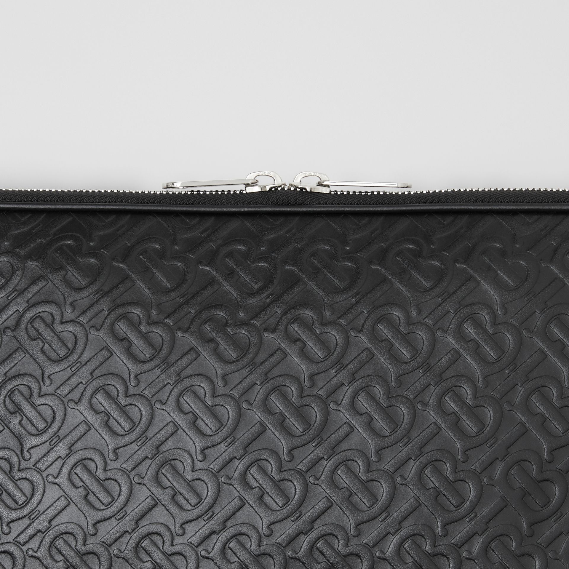 Monogram Leather Digital Case in Black - Men | Burberry - gallery image 1