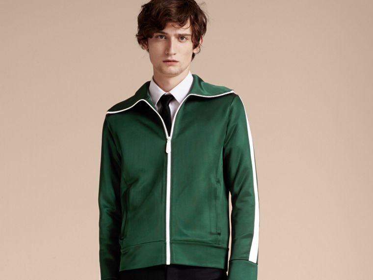Deep green Stripe Detail Zip Front Jacket Deep Green - cell image 4