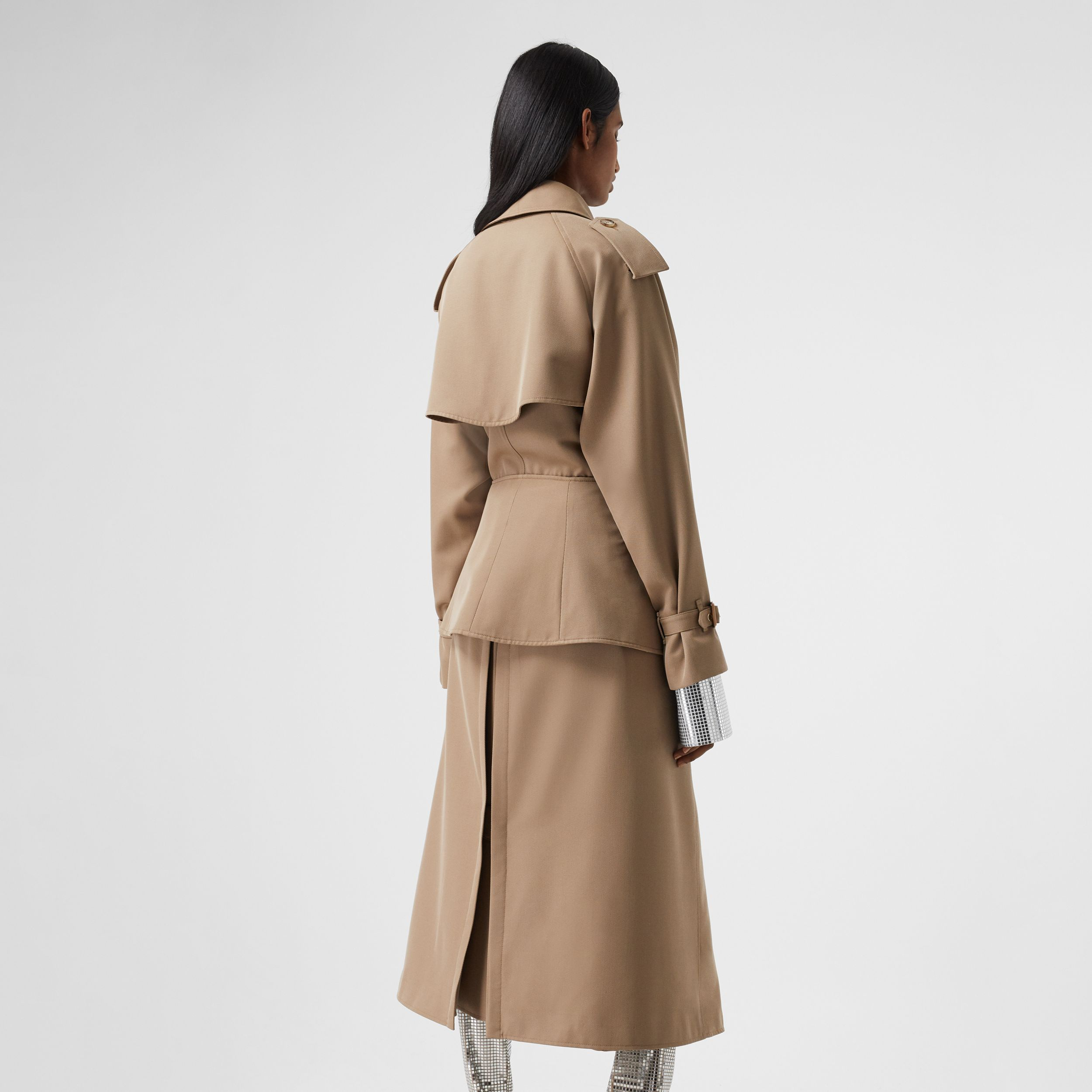Basque Detail Technical Wool Gabardine Trench Coat in Wheat - Women | Burberry Australia - 3