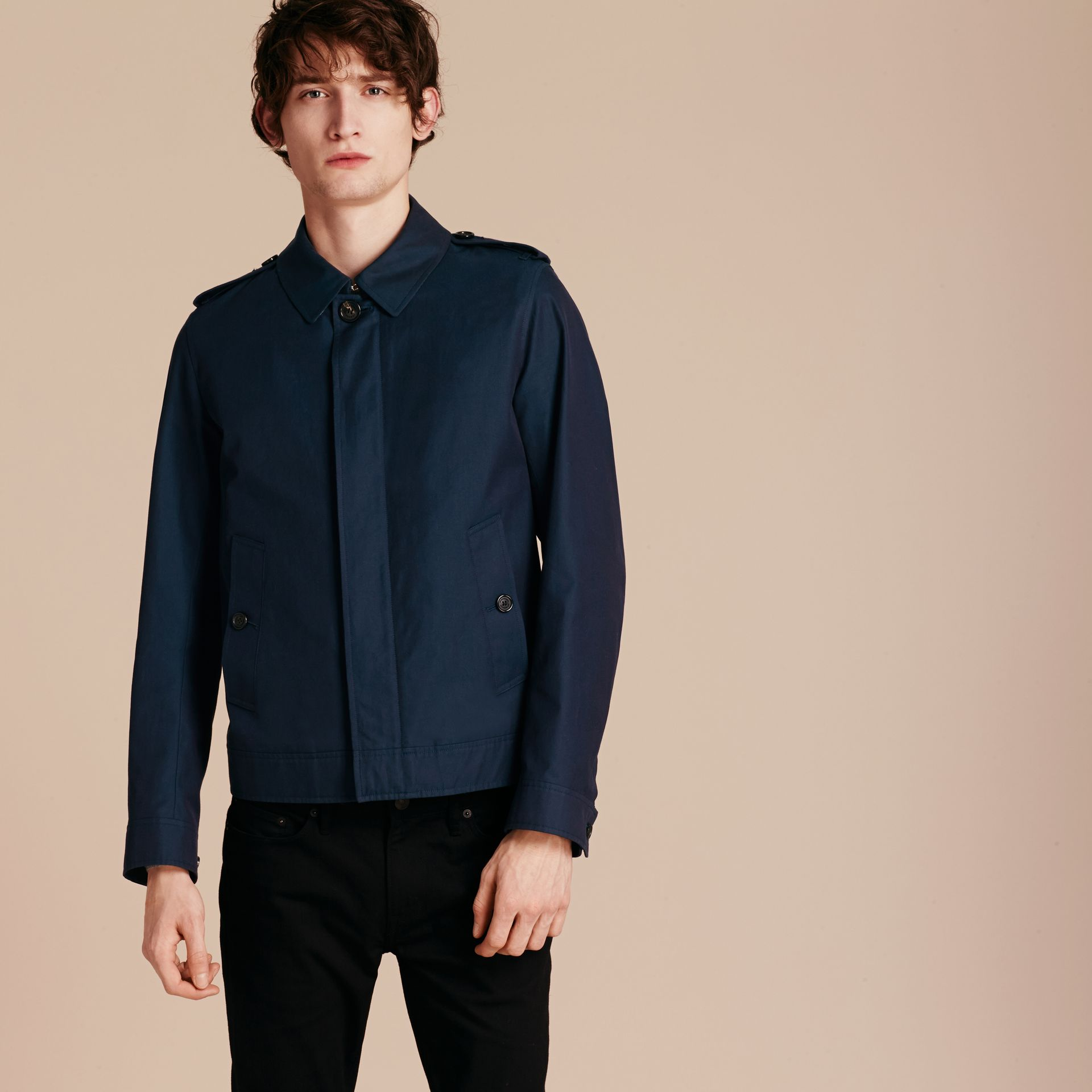 Flint blue Cotton Gabardine Jacket Flint Blue - gallery image 7