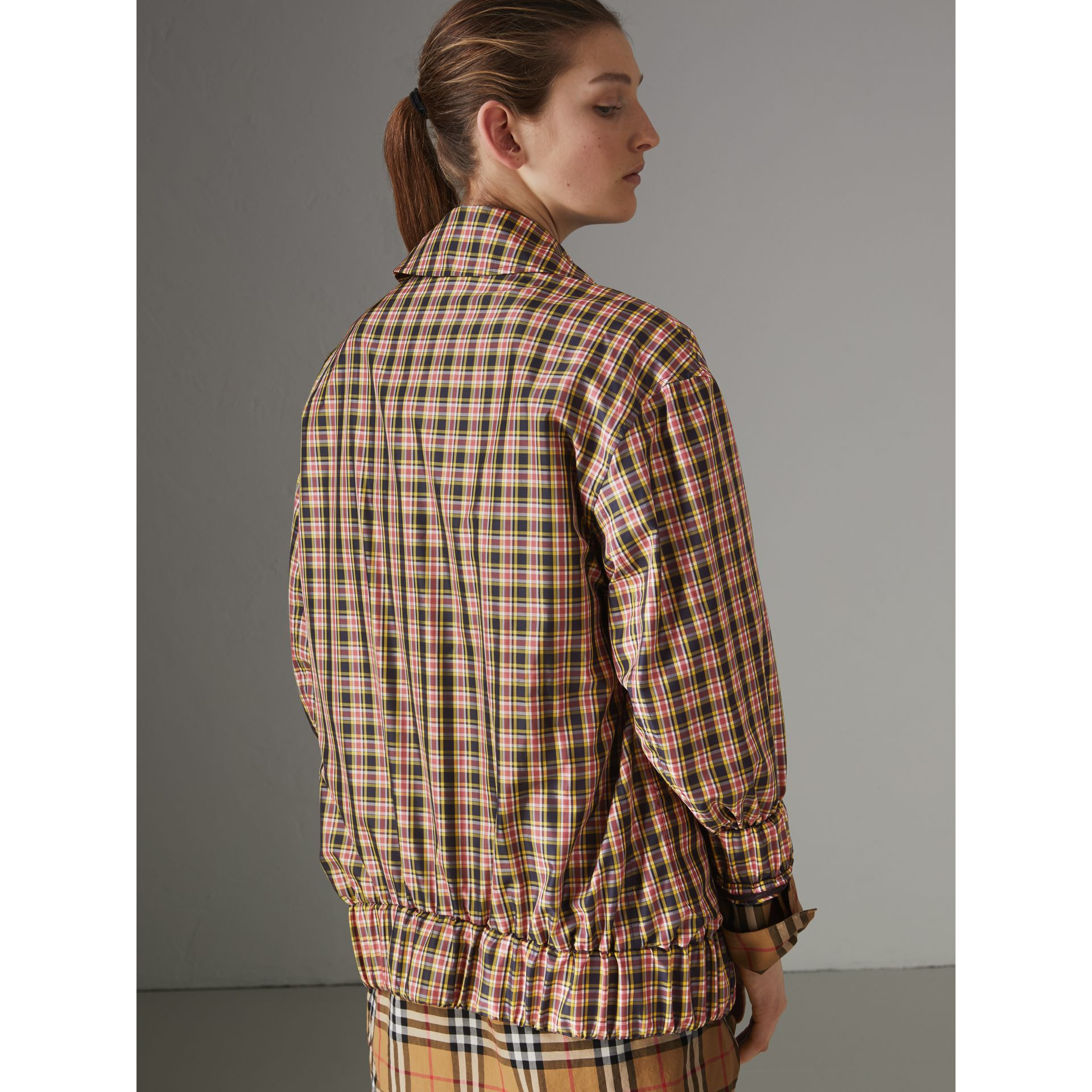 Lightweight Check Harrington Jacket in Bright Coral Pink - Women | Burberry - gallery image 2