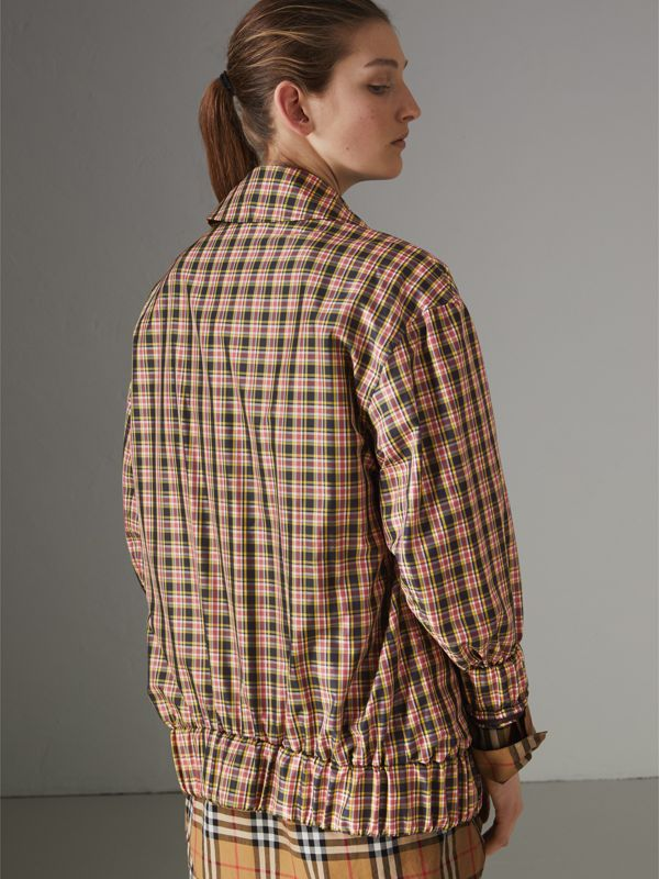 Lightweight Check Harrington Jacket in Bright Coral Pink - Women | Burberry - cell image 2