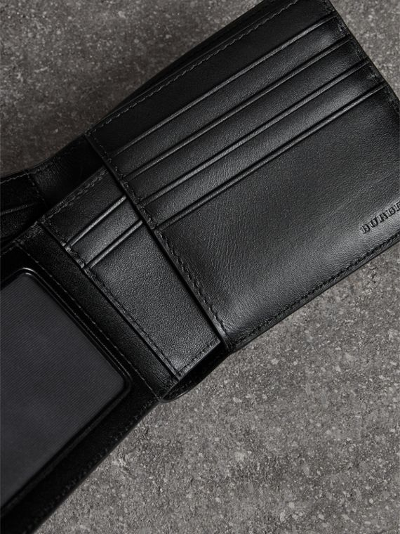 London Check Bifold Wallet with Removable Card Case in Navy/black - Men | Burberry Singapore - cell image 3