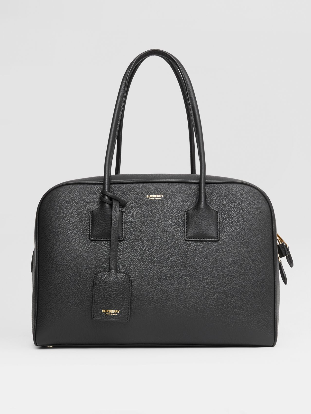Large Leather Half Cube Bag in Black