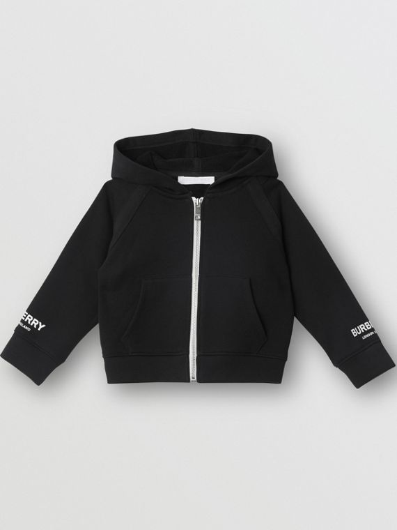 Logo Print Cotton Hooded Top in Black