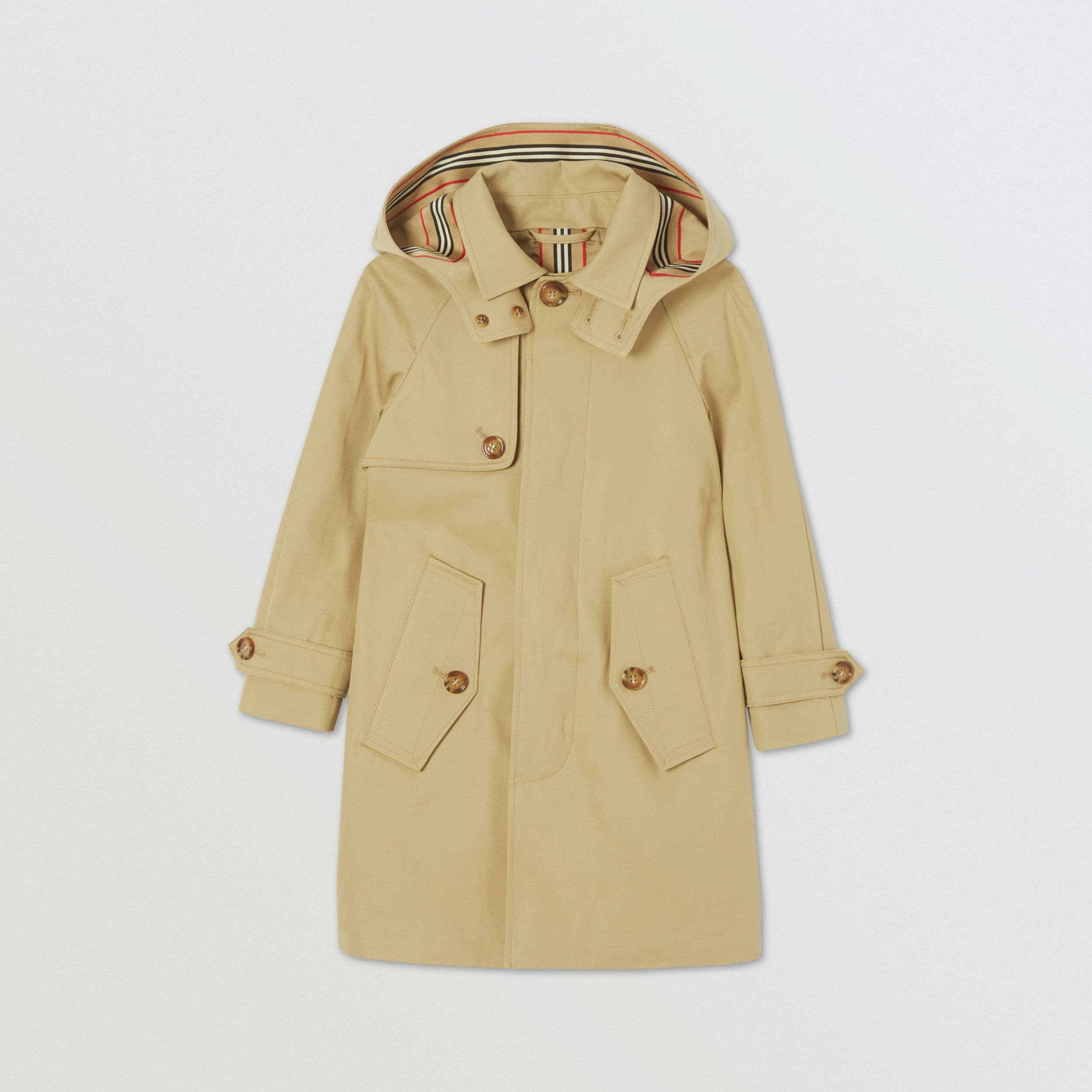 Detachable Hood Icon Stripe Trim Cotton Car Coat in Honey | Burberry - 1