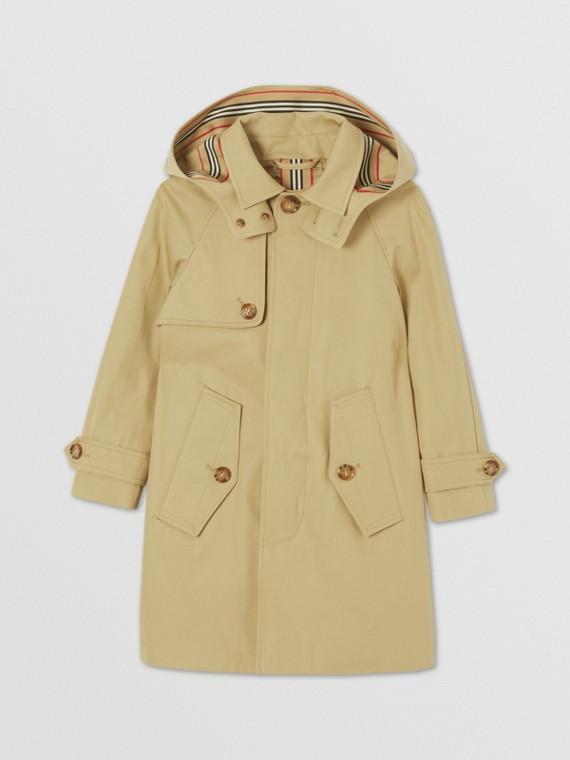 可拆式連帽標誌性條紋飾邊棉質中長大衣 (蜜金色)