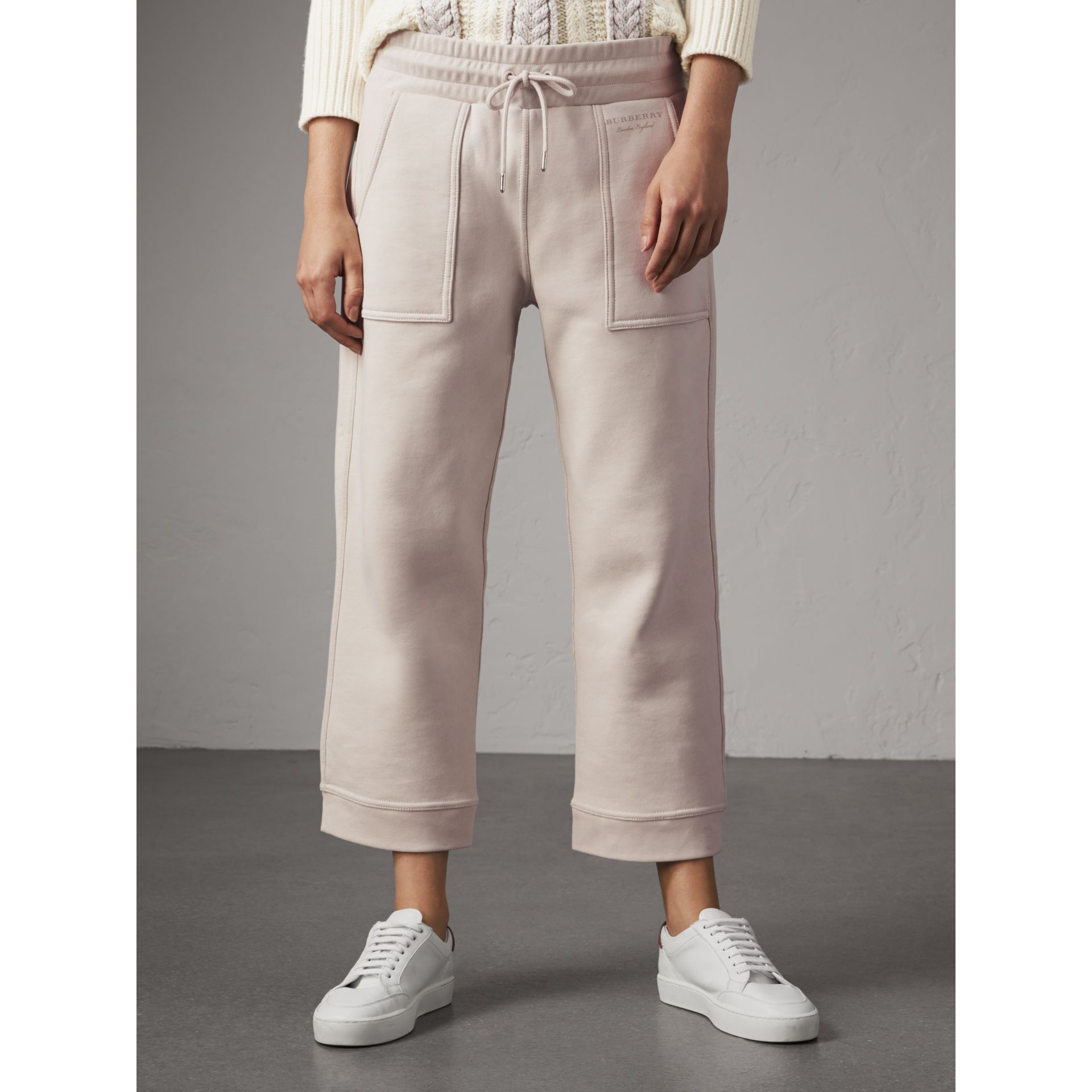 Cropped Jersey Sweatpants in Winter White - Women | Burberry - gallery image 4