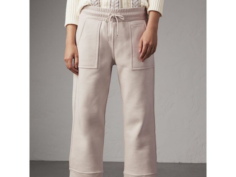 Cropped Jersey Sweatpants in Winter White - Women | Burberry - cell image 4