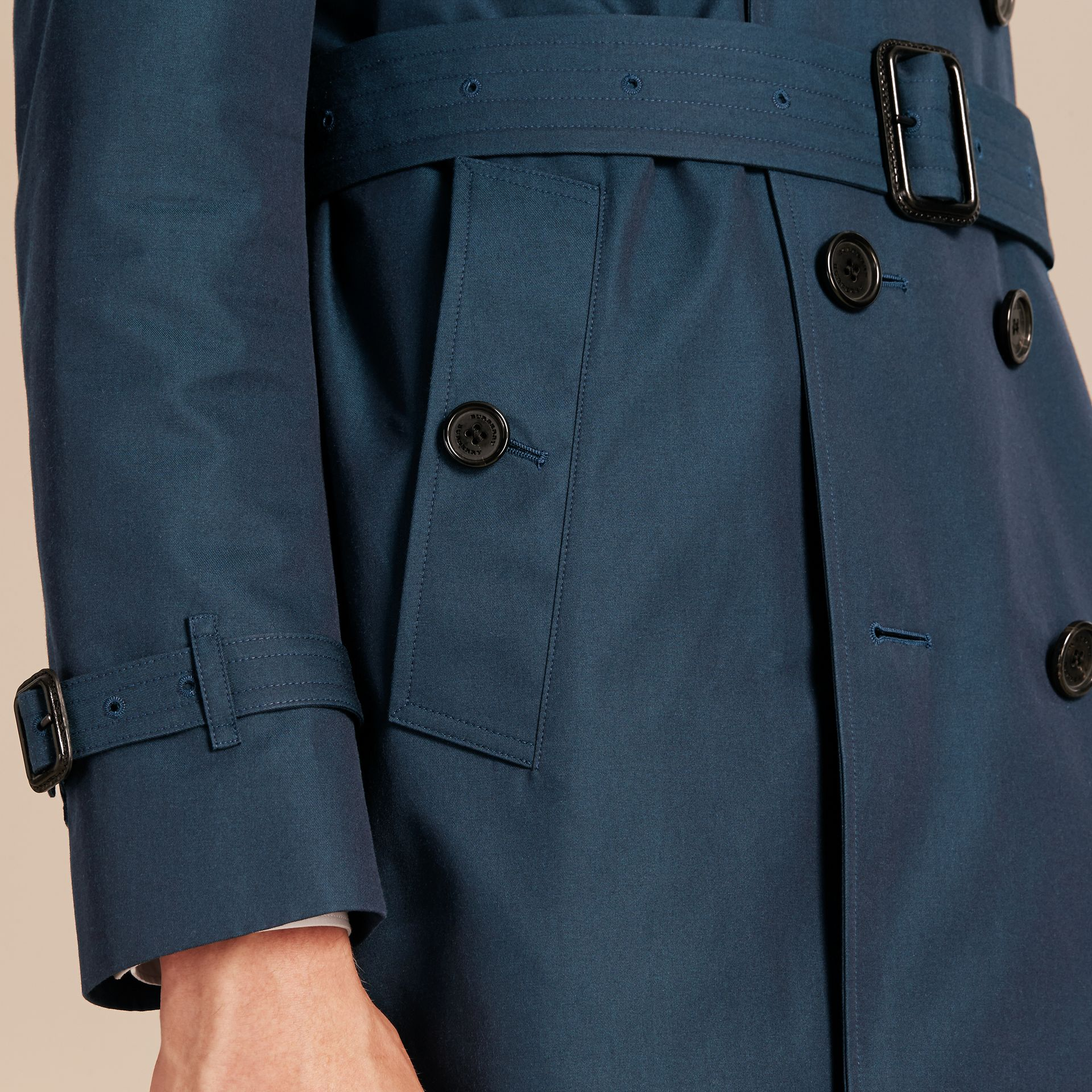 Detachable Shearling Topcollar Cotton Gabardine Trench Coat with Warmer in Teal Blue - gallery image 7