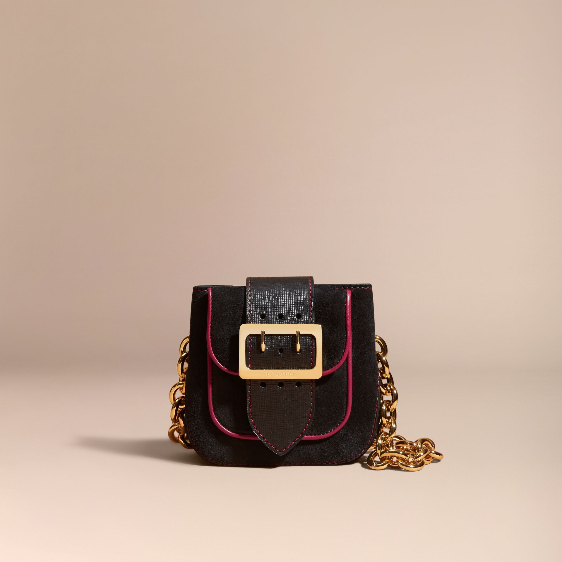 Black The Small Square Buckle Bag in Suede and Leather Black - gallery image 9