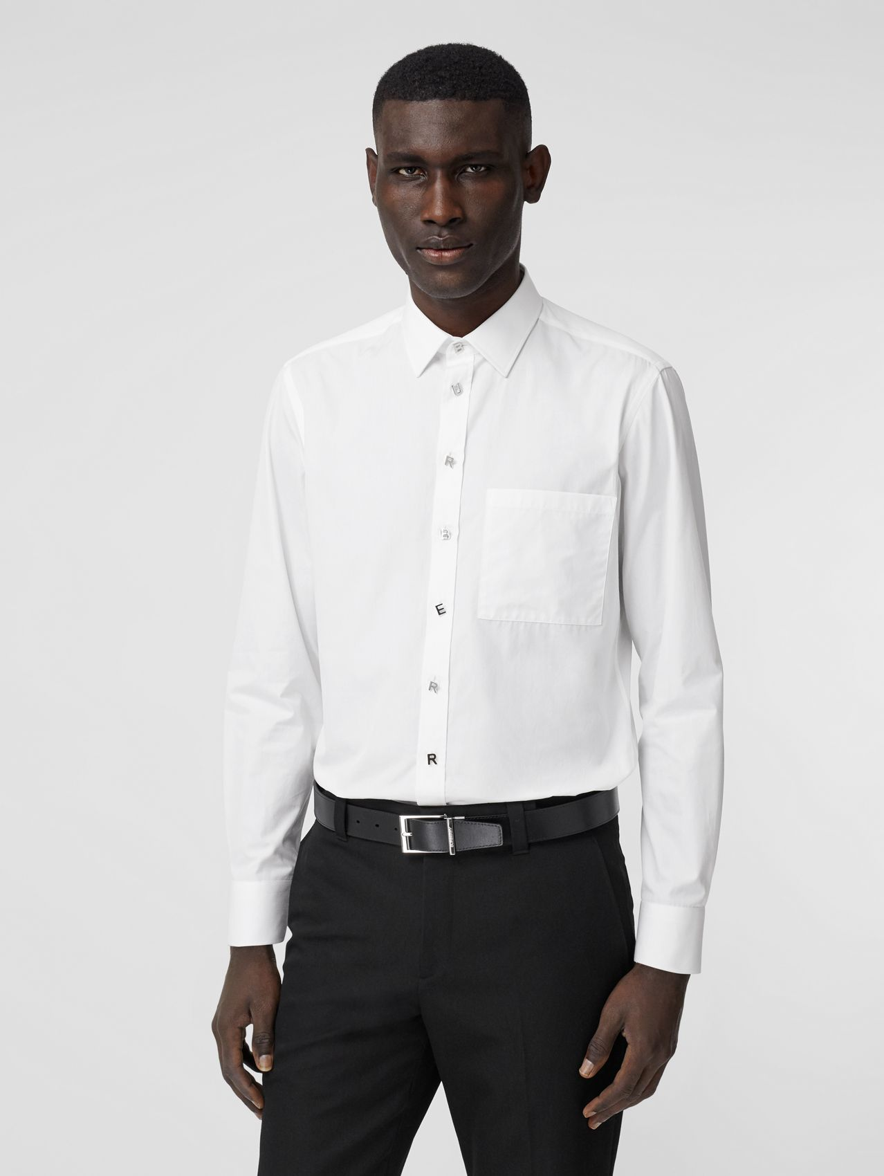 Slim Fit Logo Detail Cotton Poplin Shirt in White