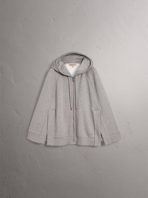 Jersey Hooded Cape in Pale Grey Melange - Women | Burberry United Kingdom - cell image 3