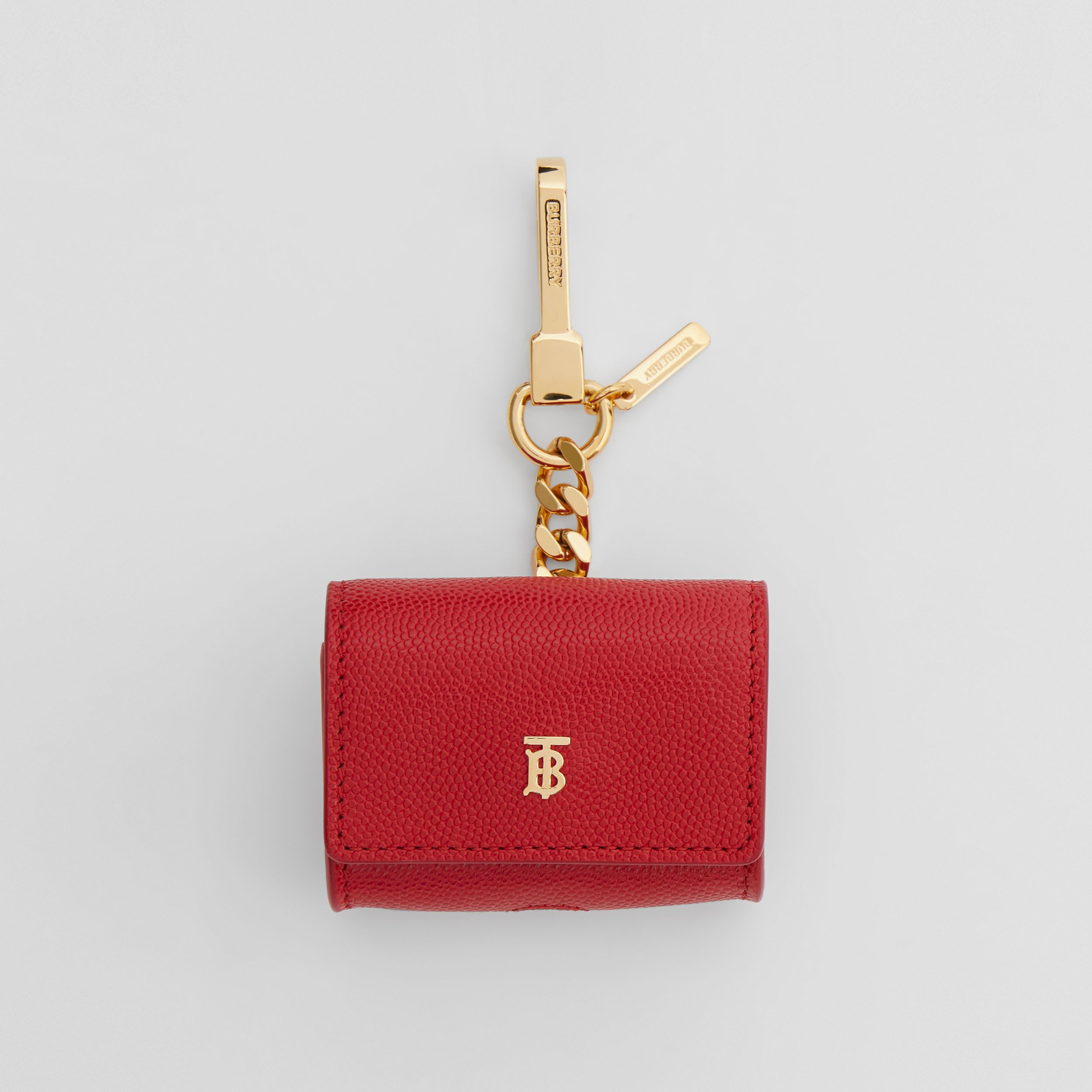 Grainy Leather AirPods Pro Case in Bright Red | Burberry United Kingdom - 1