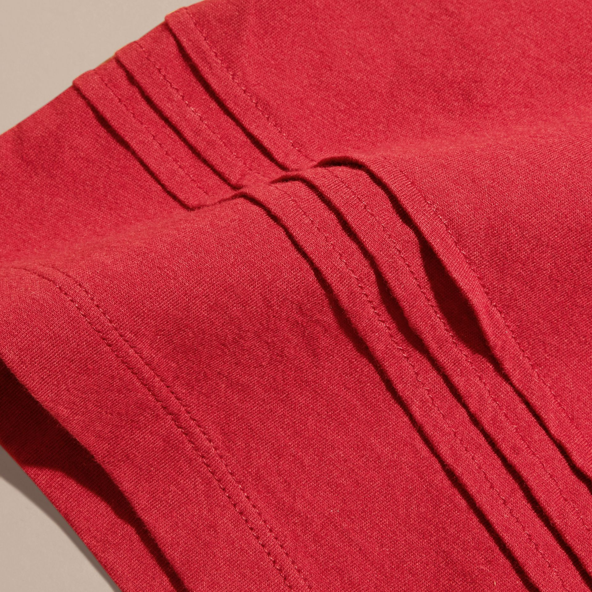 Pleat Detail Check Cotton T-Shirt in Parade Red - gallery image 2