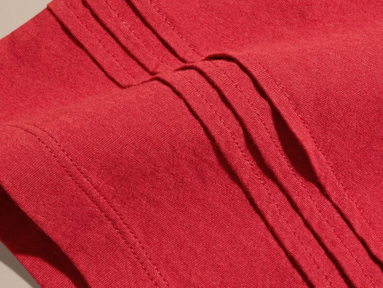 Pleat Detail Check Cotton T-Shirt in Parade Red - cell image 1