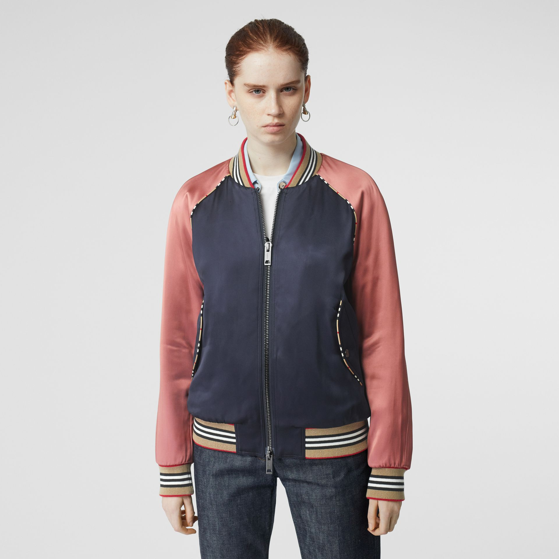 Icon Stripe Detail Monogram Motif Bomber Jacket in Navy/pink - Women | Burberry - gallery image 5