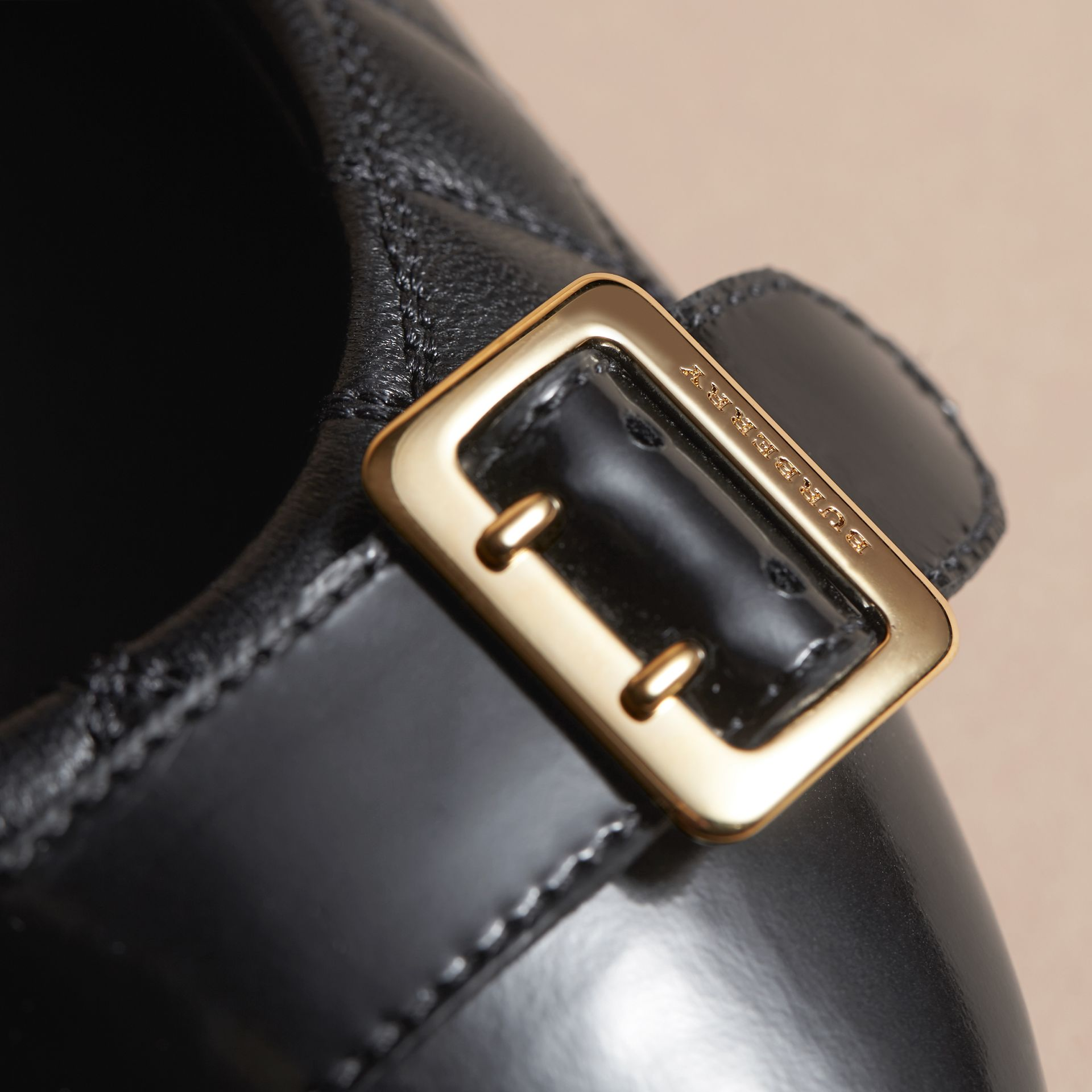 Buckle Detail Quilted Lambskin Leather Ballerinas in Black - Women | Burberry - gallery image 2