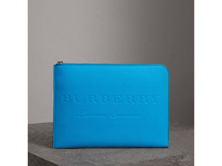 Embossed Leather Document Case in Neon Blue - Men | Burberry United Kingdom - cell image 4