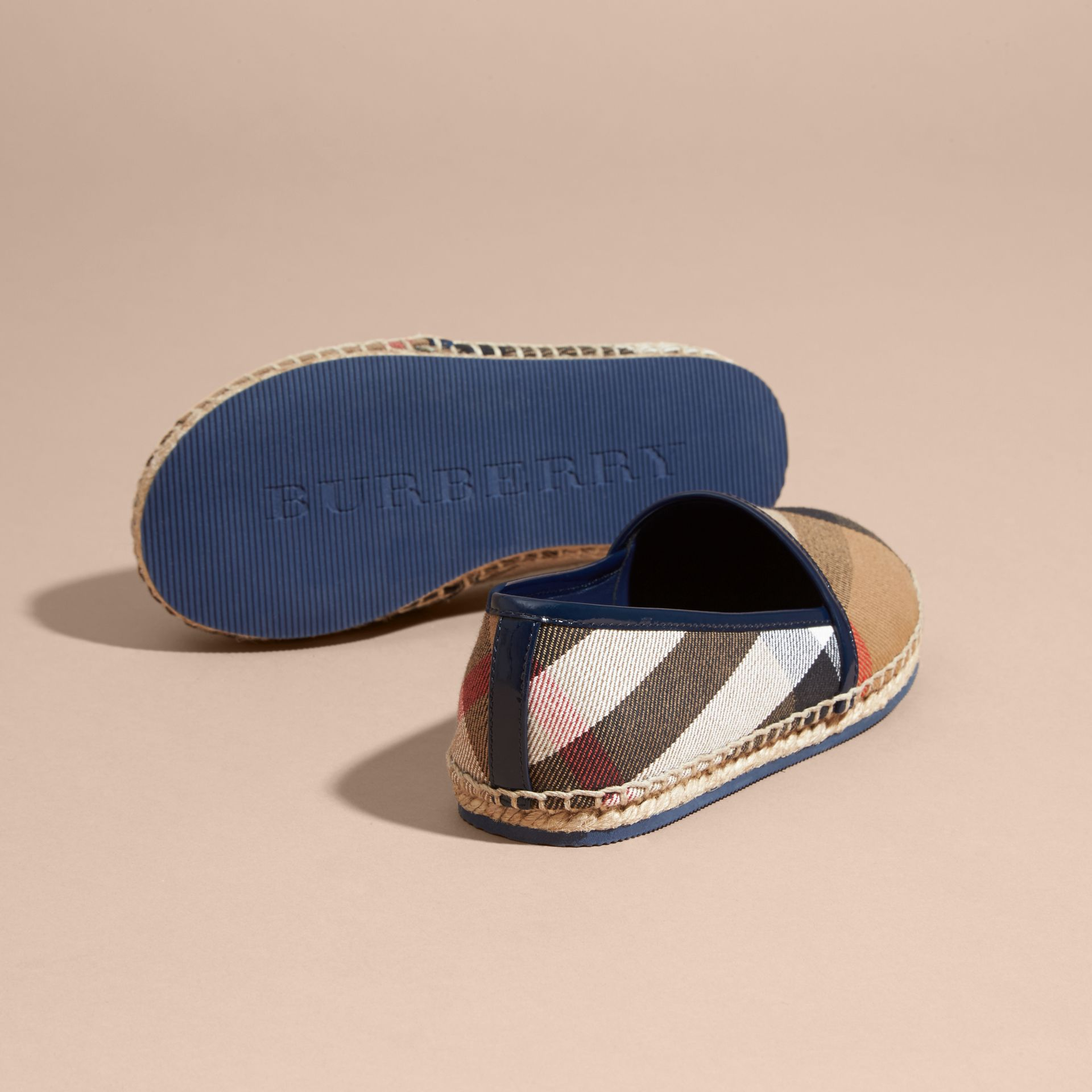 House Check Cotton Canvas Espadrilles Dark Sapphire - gallery image 4