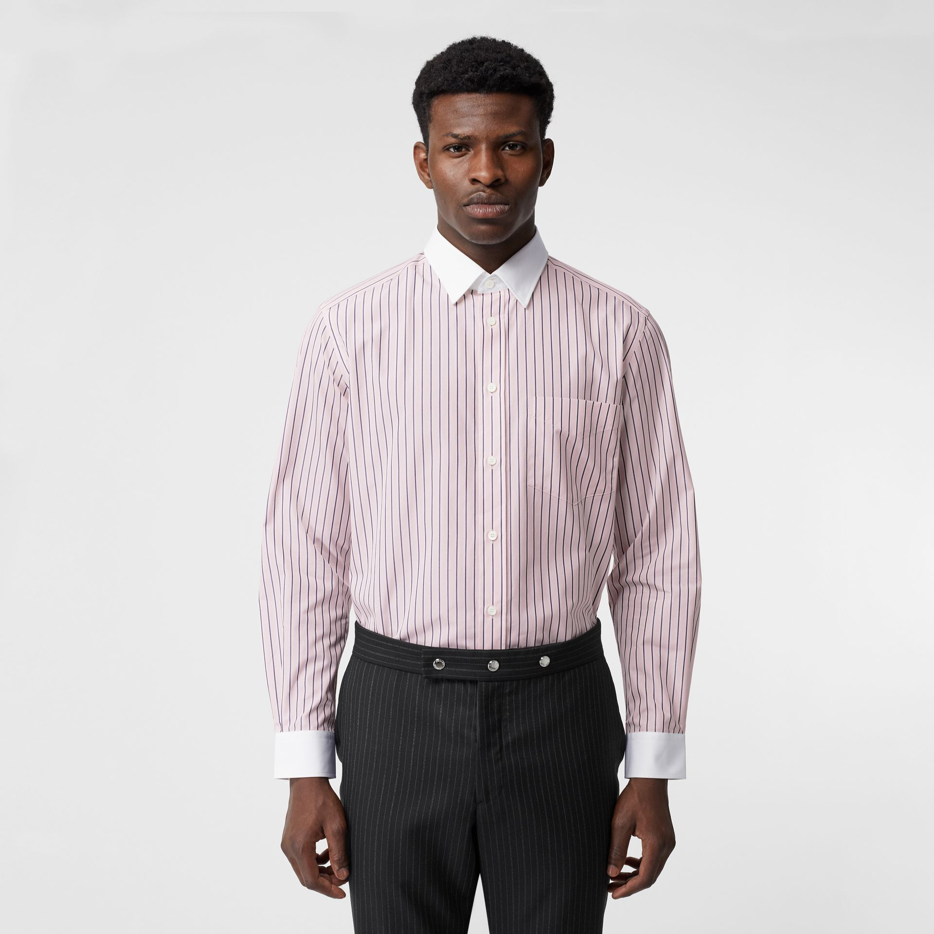 Classic Fit Monogram Motif Striped Cotton Shirt in Alabaster Pink - Men | Burberry - gallery image 0