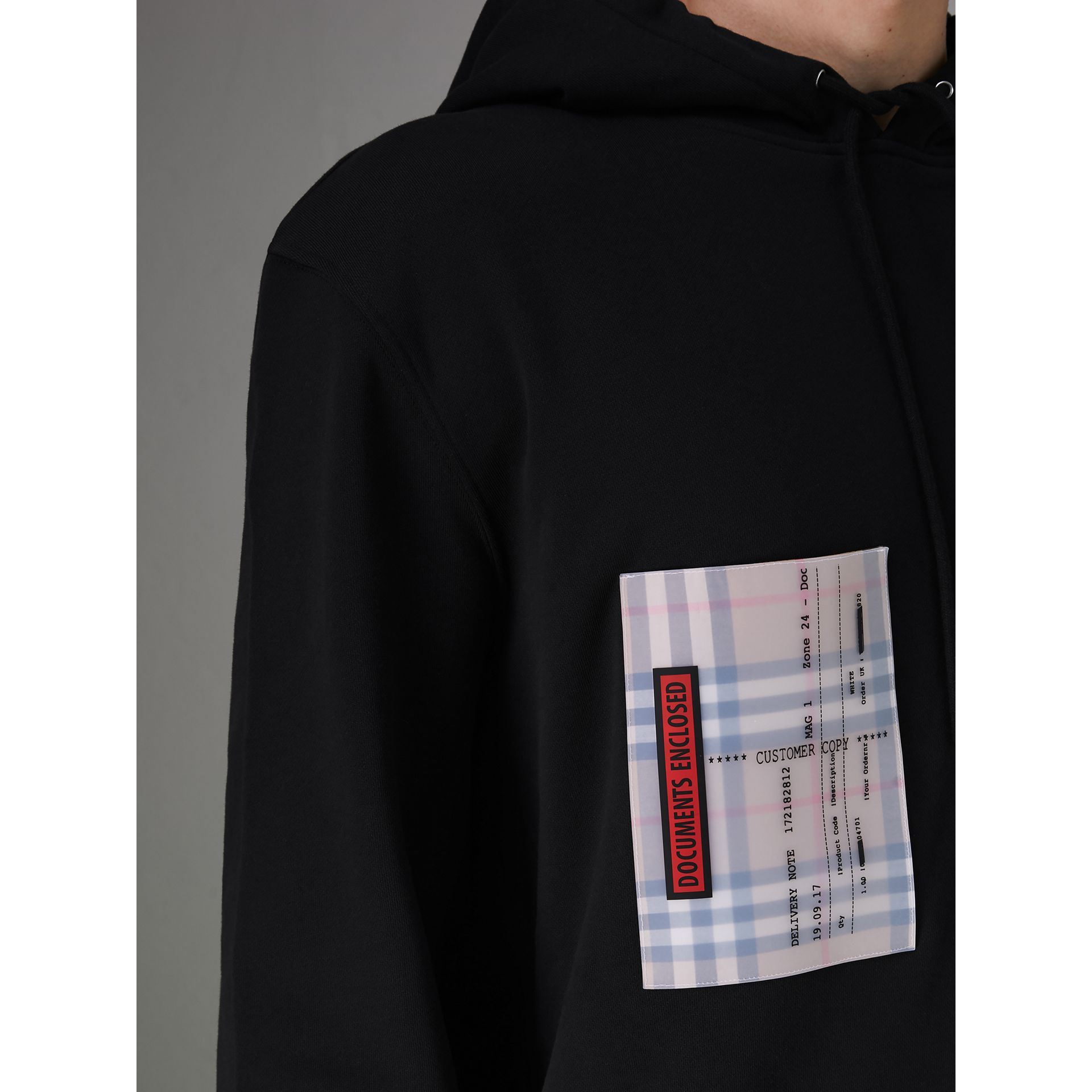 Ticket Print Pocket Cotton Jersey Hoodie in Black - Men | Burberry Hong Kong - gallery image 1