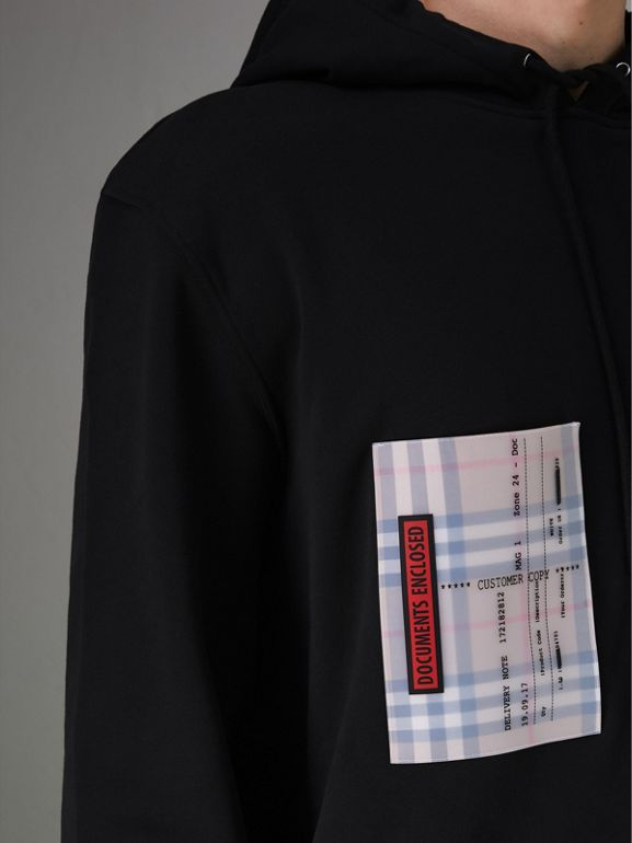 Ticket Print Pocket Cotton Jersey Hoodie in Black - Men | Burberry Hong Kong - cell image 1