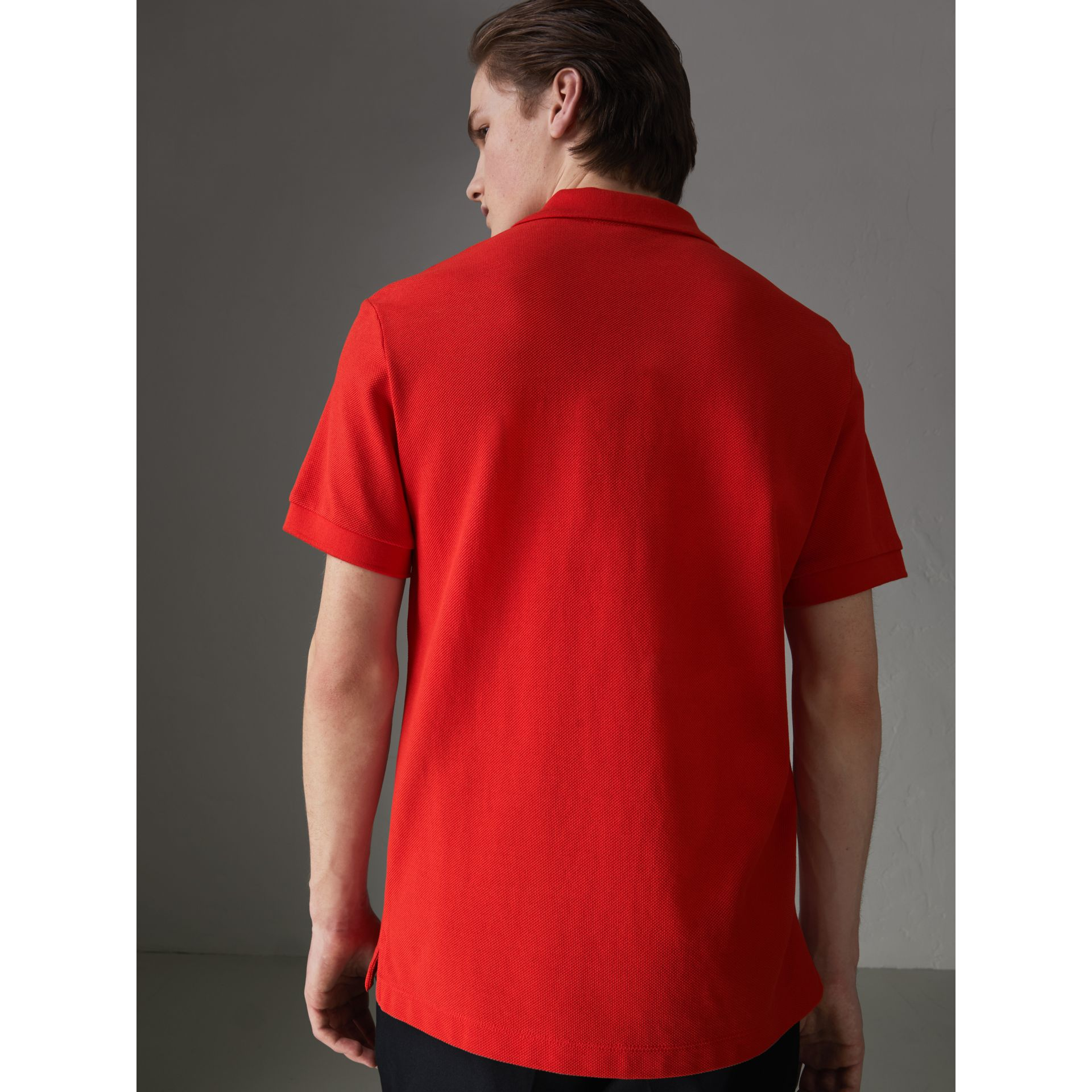 Check Trim Cotton Polo Shirt in Bright Red - Men | Burberry - gallery image 2