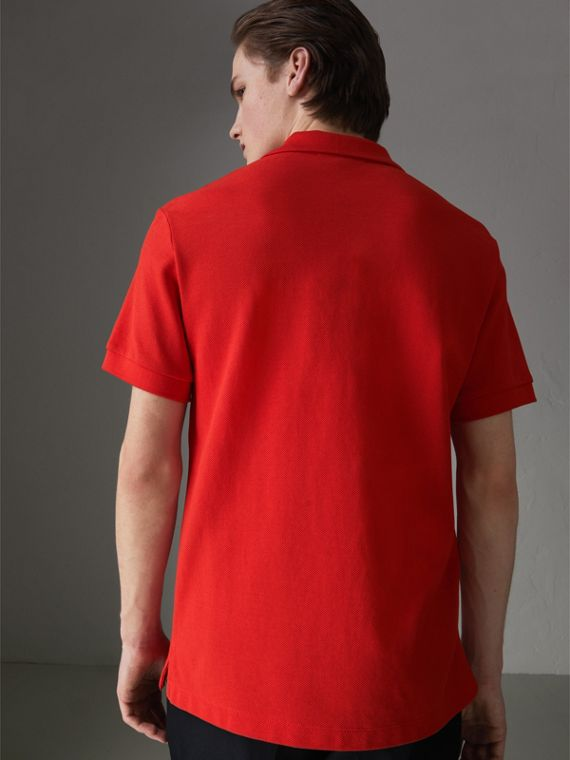Check Trim Cotton Polo Shirt in Bright Red - Men | Burberry - cell image 2