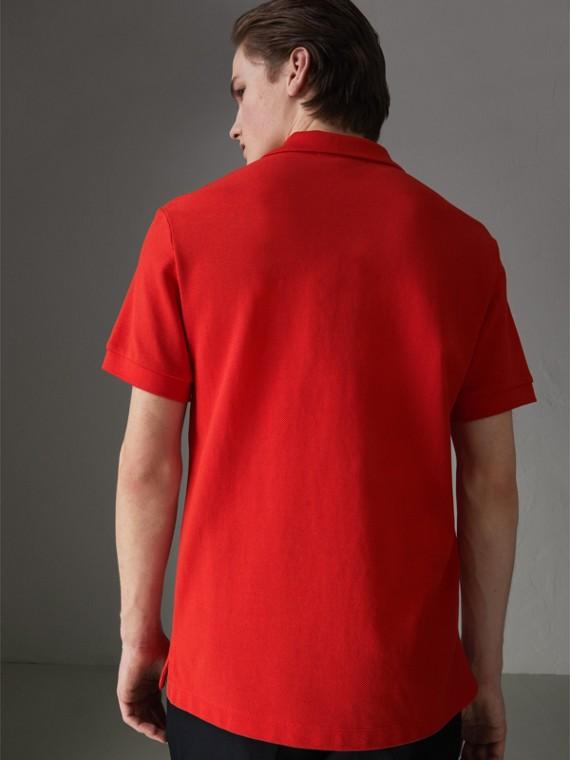格紋飾邊棉質 Polo 衫 (亮紅色) - 男款 | Burberry - cell image 2