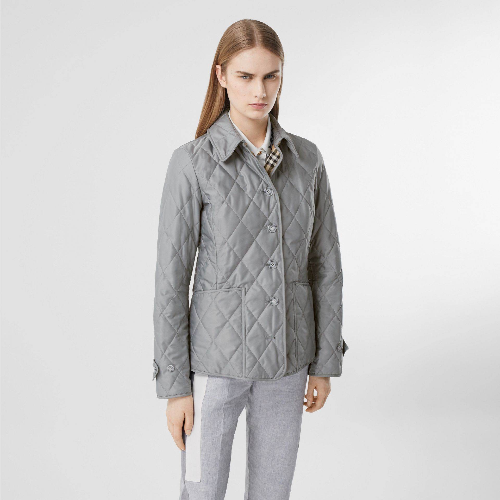 Diamond Quilted Thermoregulated Jacket in Mid Grey - Women | Burberry - gallery image 6