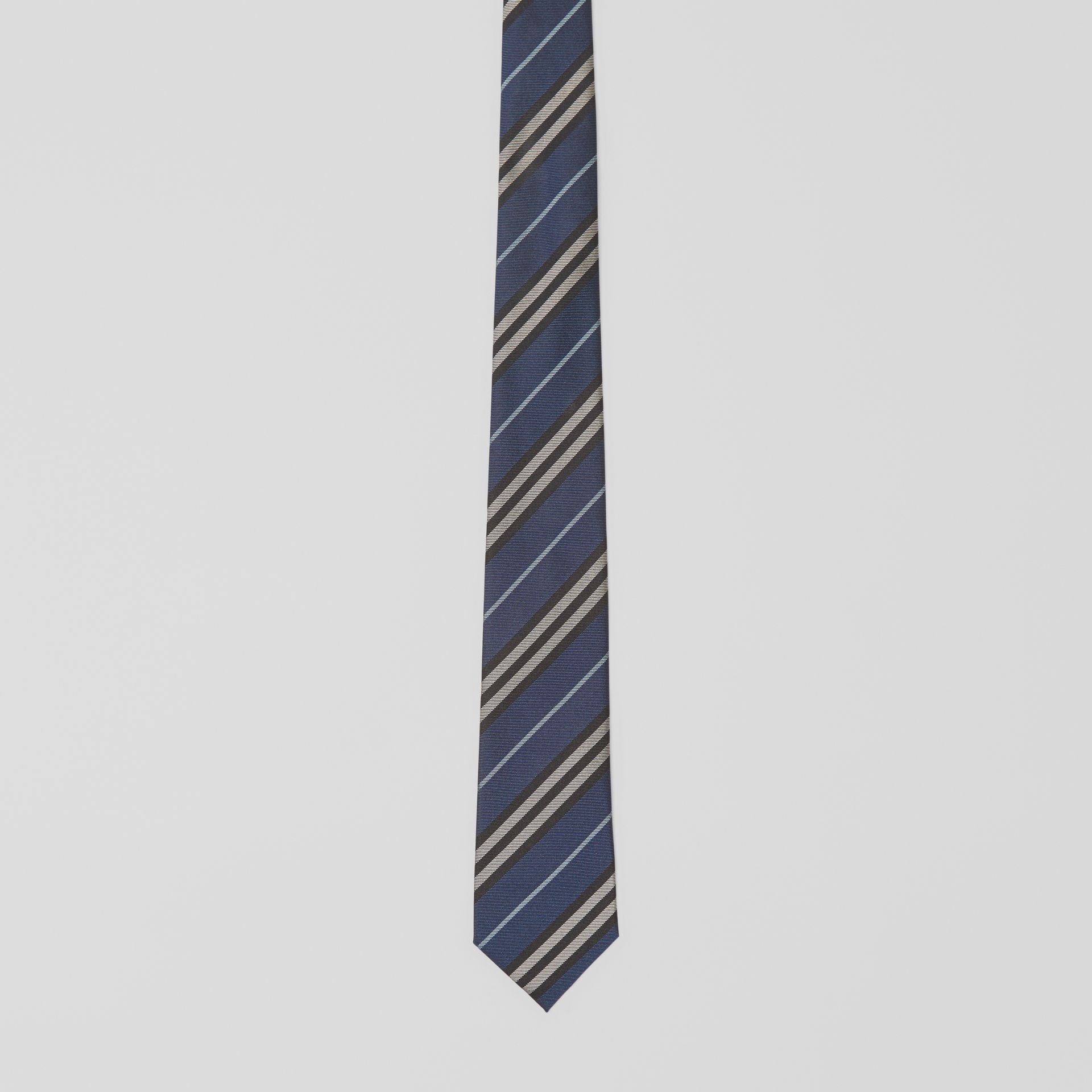 Modern Cut Striped Silk Jacquard Tie in Steel Blue - Men | Burberry Australia - gallery image 3