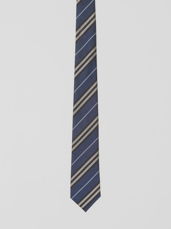 Modern Cut Striped Silk Jacquard Tie in Steel Blue - Men | Burberry - cell image 3