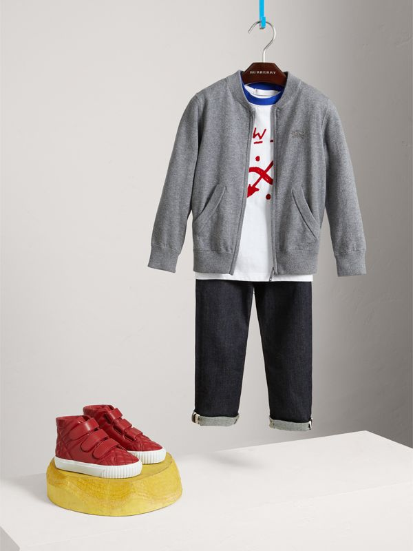 Check Elbow Patch Bomber Cardigan in Mid Grey Melange - Boy | Burberry United Kingdom - cell image 2