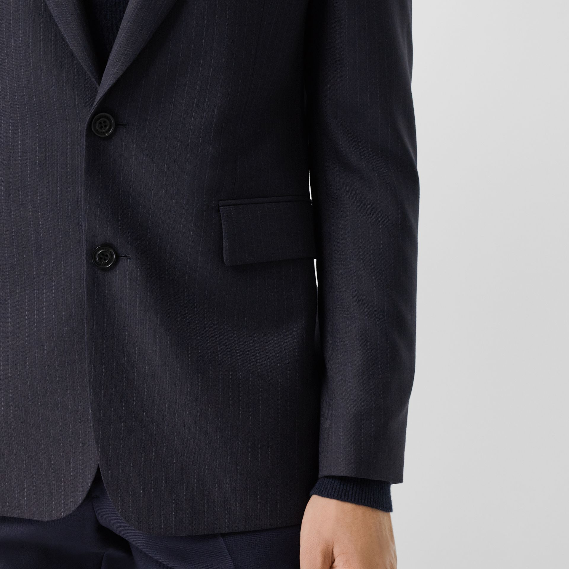 Classic Fit Pinstripe Wool Tailored Jacket in Navy Stripe - Men | Burberry - gallery image 1