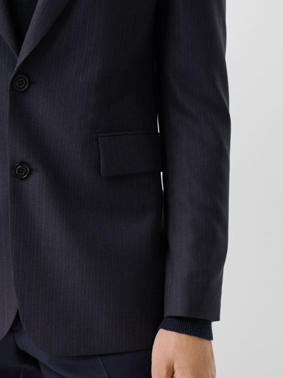Classic Fit Pinstripe Wool Tailored Jacket in Navy Stripe - Men | Burberry United Kingdom - cell image 1