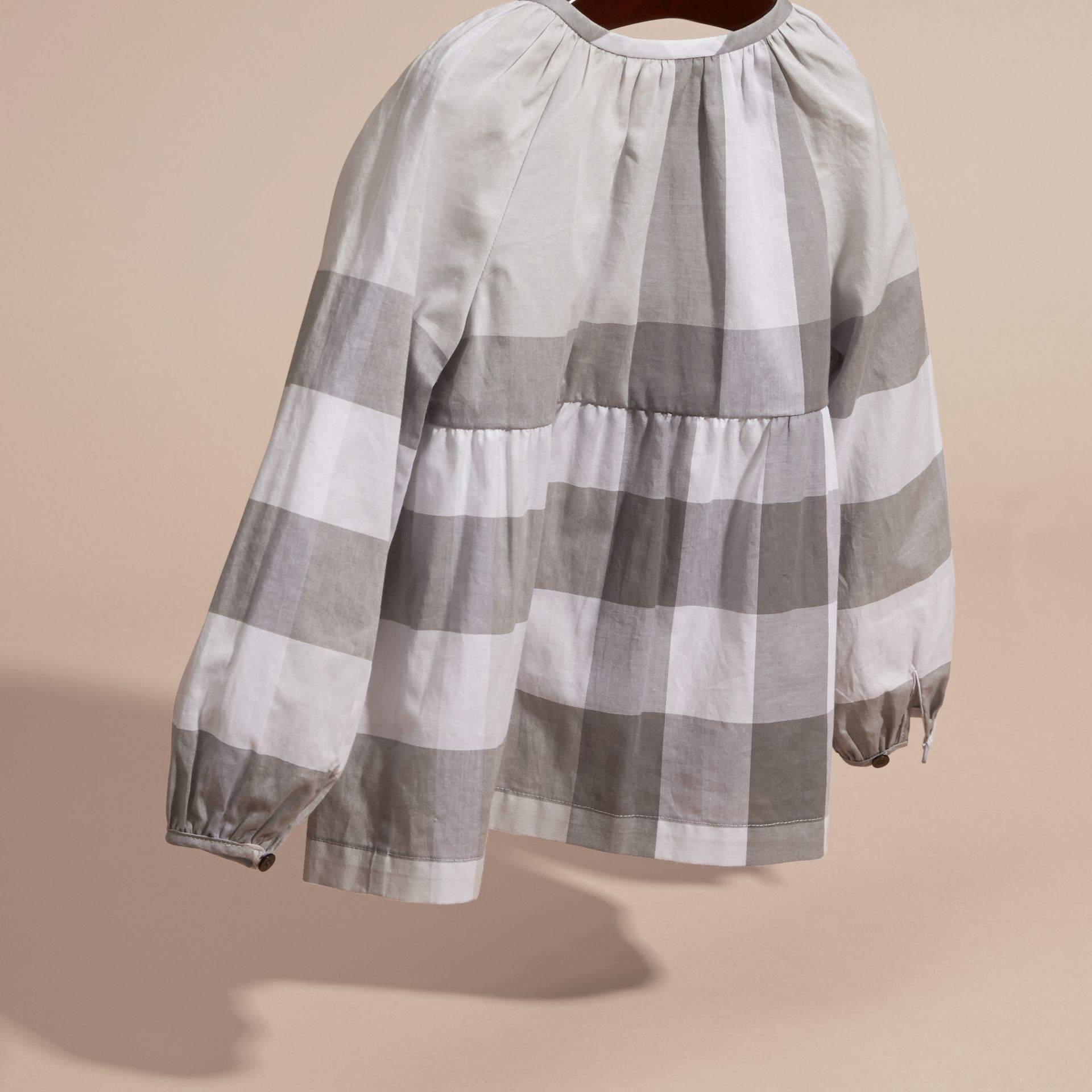 Light grey Puff Sleeve Check Cotton Blouse Light Grey - gallery image 4