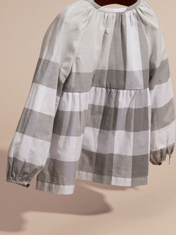 Light grey Puff Sleeve Check Cotton Blouse Light Grey - cell image 3