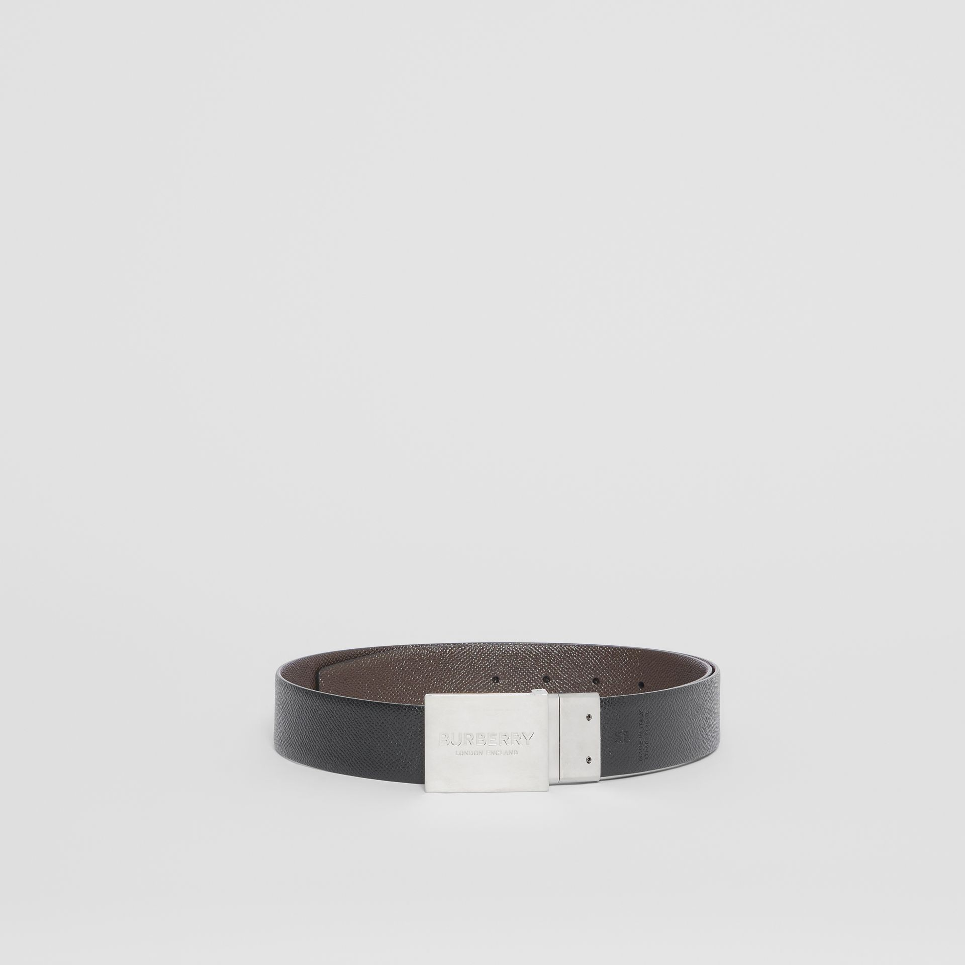 Reversible Plaque Buckle Grainy Leather Belt in Chocolate/black - Men | Burberry United Kingdom - gallery image 5